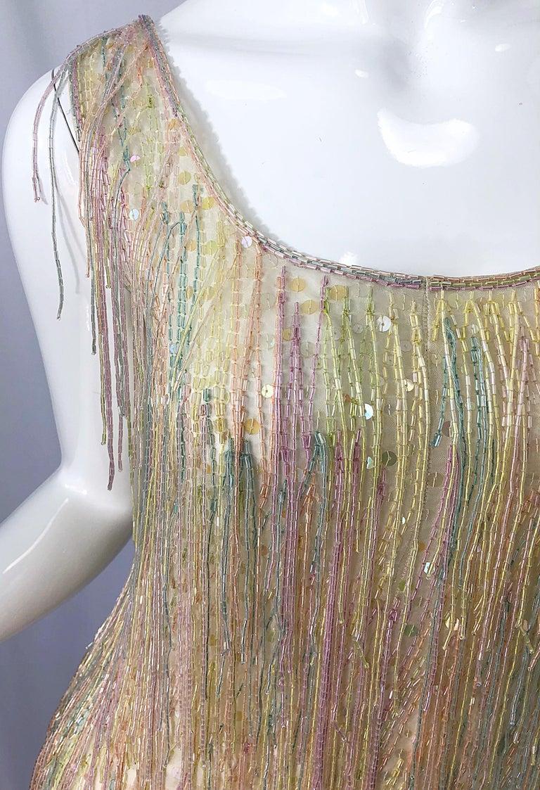 Halston MET Musuem 1970s Fully Fringed Beaded Flapper Style Vintage 70s Dress For Sale 7