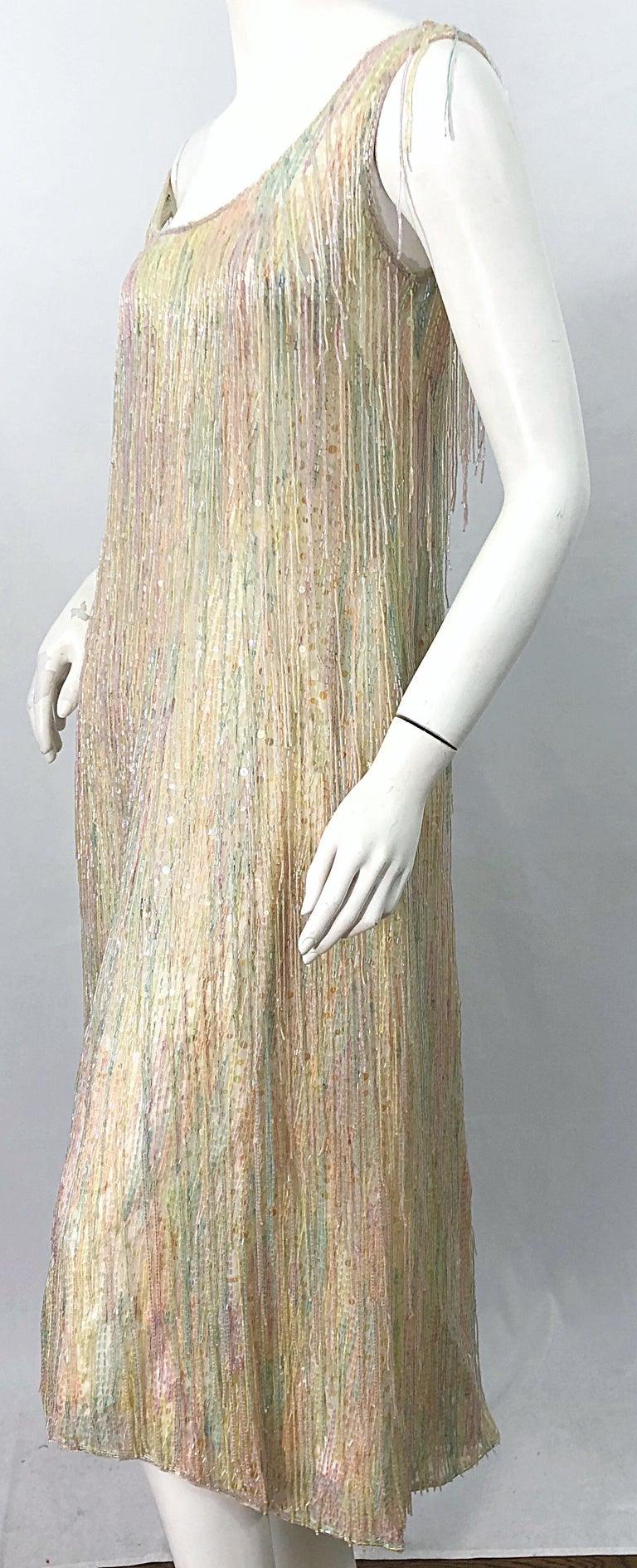 Halston MET Musuem 1970s Fully Fringed Beaded Flapper Style Vintage 70s Dress For Sale 8