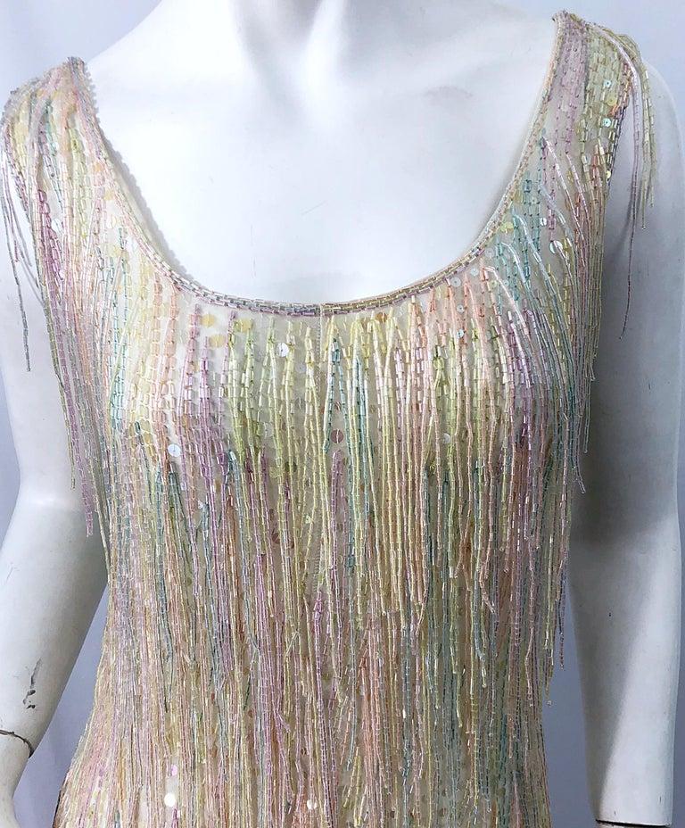 Halston MET Musuem 1970s Fully Fringed Beaded Flapper Style Vintage 70s Dress For Sale 11