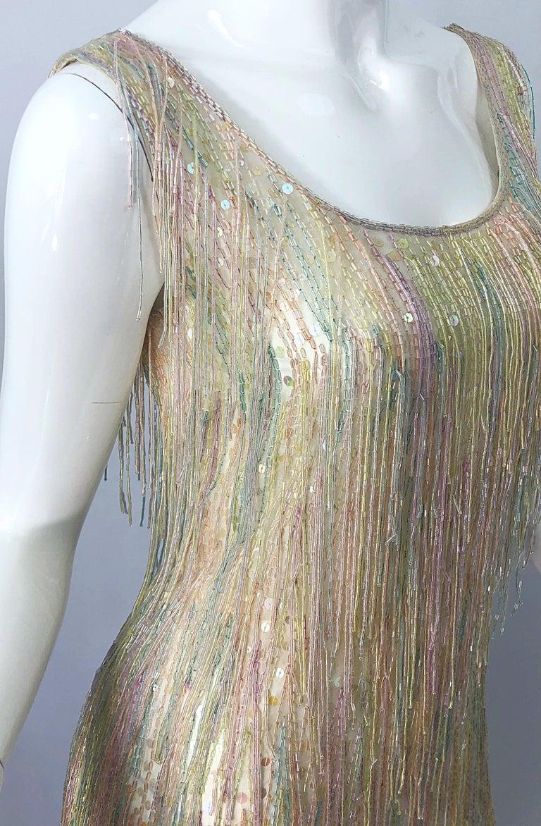 Halston MET Musuem 1970s Fully Fringed Beaded Flapper Style Vintage 70s Dress For Sale 12