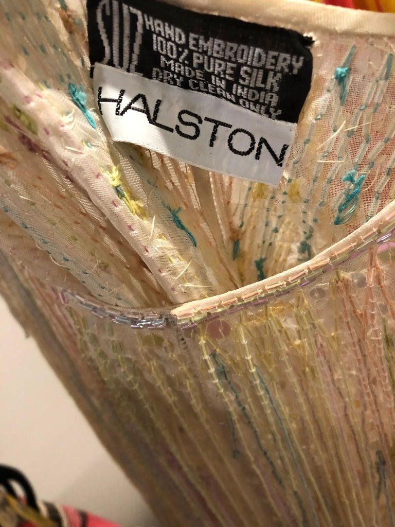 Beige Halston MET Musuem 1970s Fully Fringed Beaded Flapper Style Vintage 70s Dress For Sale