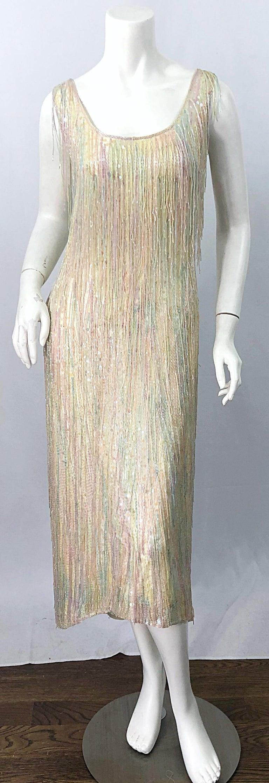 Women's Halston MET Musuem 1970s Fully Fringed Beaded Flapper Style Vintage 70s Dress For Sale