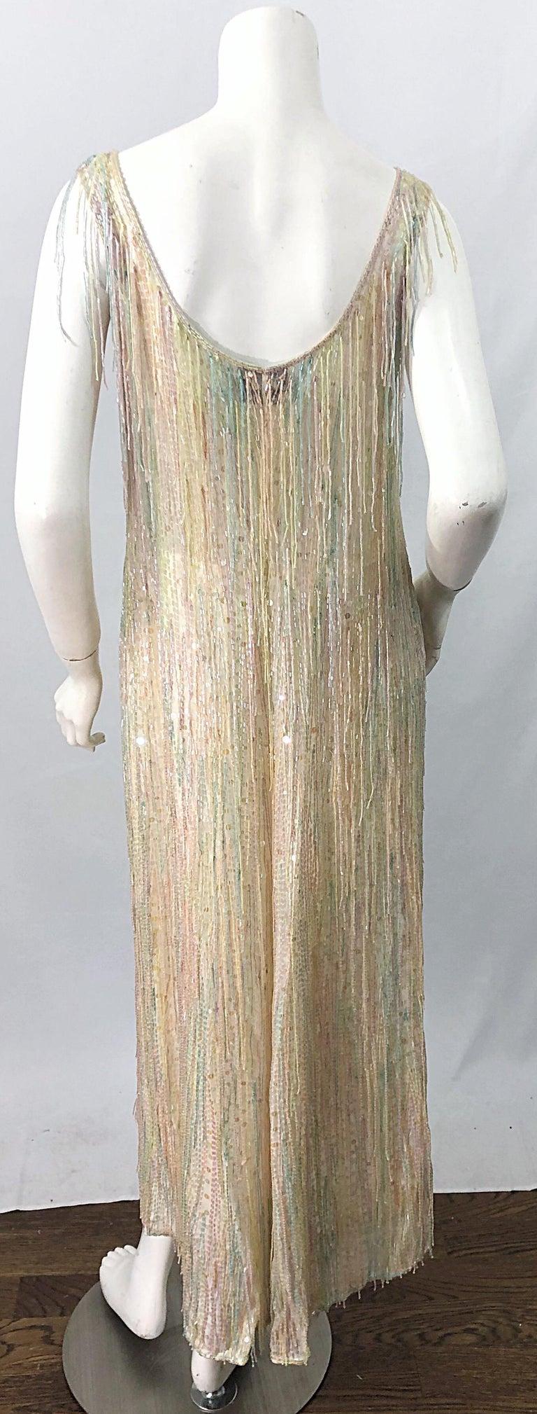 Halston MET Musuem 1970s Fully Fringed Beaded Flapper Style Vintage 70s Dress For Sale 1