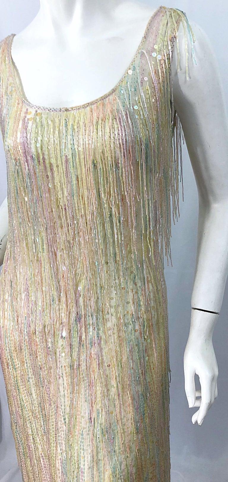 Halston MET Musuem 1970s Fully Fringed Beaded Flapper Style Vintage 70s Dress For Sale 2
