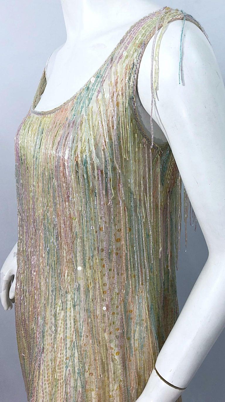 Halston MET Musuem 1970s Fully Fringed Beaded Flapper Style Vintage 70s Dress For Sale 3