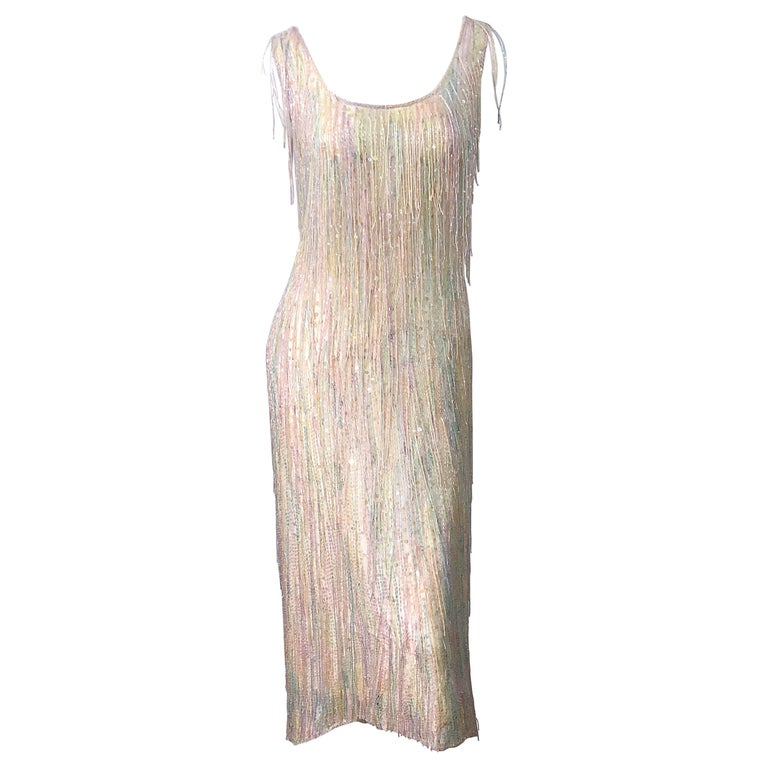 Halston MET Musuem 1970s Fully Fringed Beaded Flapper Style Vintage 70s Dress For Sale