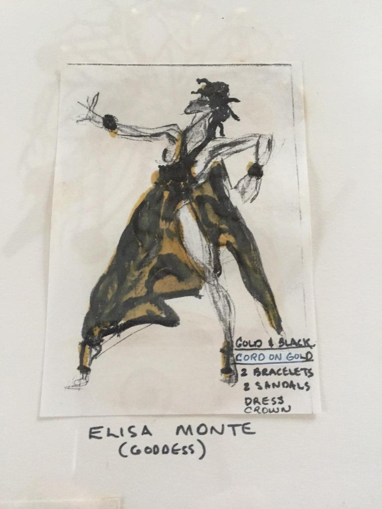Halston Original Costume Designs ex Martha Graham Estate Matted & Framed In Excellent Condition For Sale In New Hope, PA