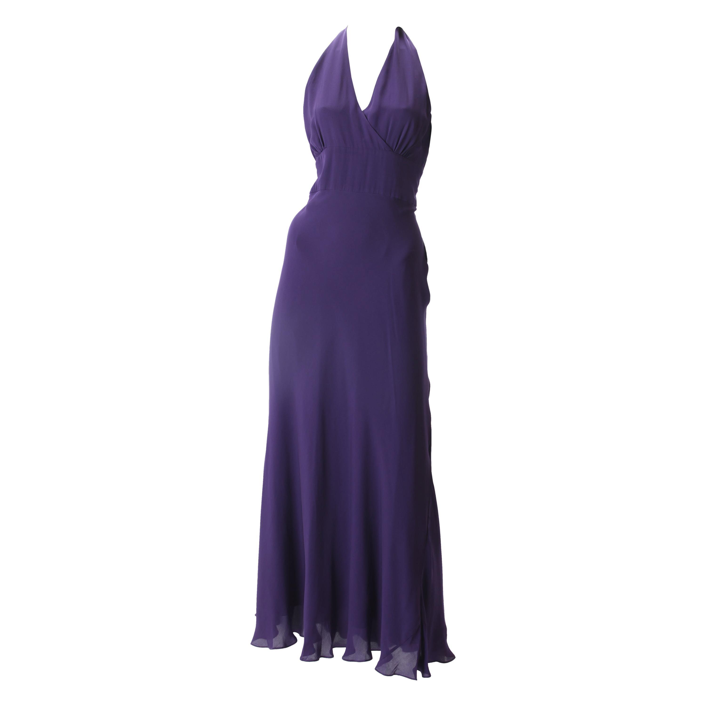 Halston Purple Chiffon Halter Dress, c.1970s.