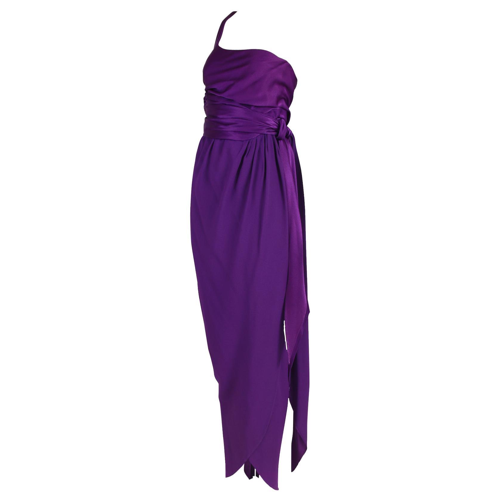 Halston Purple Silk Single Shoulder Silk Evening Gown 1970's