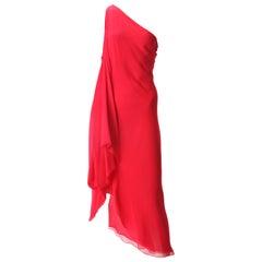 Halston Red Chiffon Dress with Sash, c. 1970s.