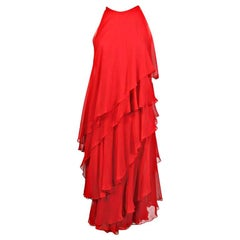 Halston Red Tiered Silk Chiffon Evening Dress, 1970s