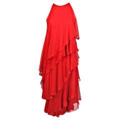 Halston Red Tiered Silk Chiffon Evening Dress, 1970s