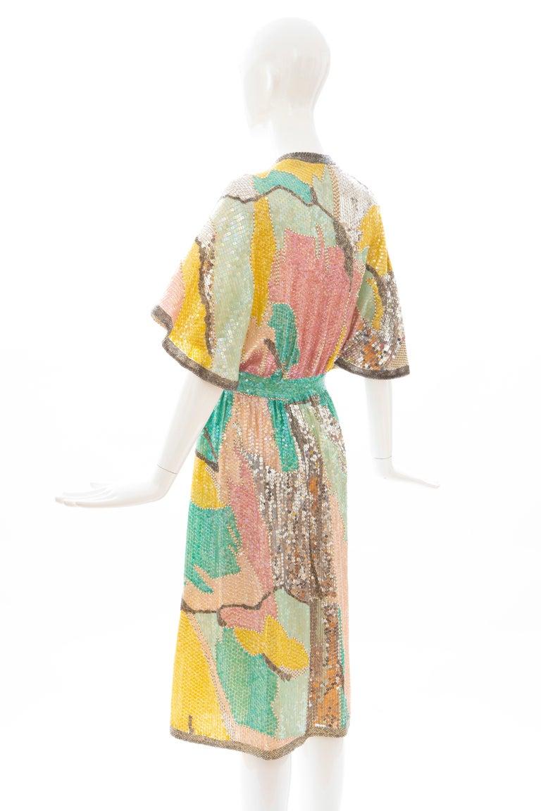 Halston Sequin Seed Pearl Bugle Bead Silk Evening Wrap Dress, Circa: 1970's For Sale 5