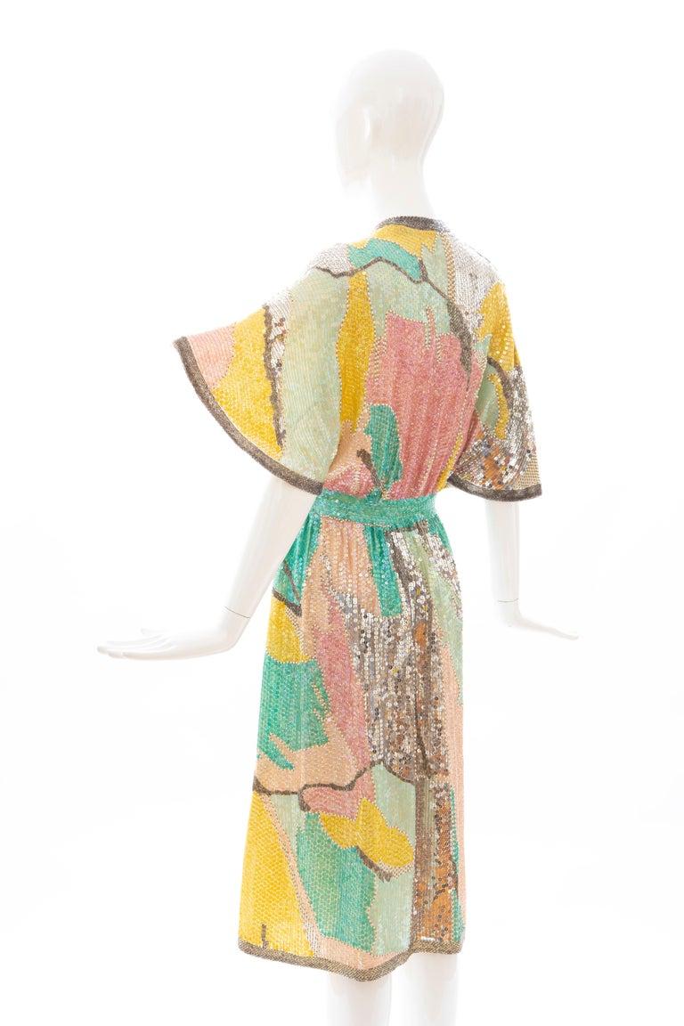 Halston Sequin Seed Pearl Bugle Bead Silk Evening Wrap Dress, Circa: 1970's For Sale 6