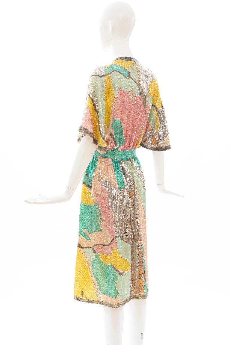 Halston Sequin Seed Pearl Bugle Bead Silk Evening Wrap Dress, Circa: 1970's For Sale 7