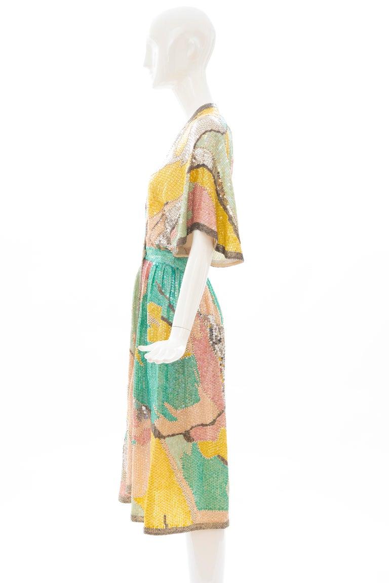 Halston Sequin Seed Pearl Bugle Bead Silk Evening Wrap Dress, Circa: 1970's For Sale 8