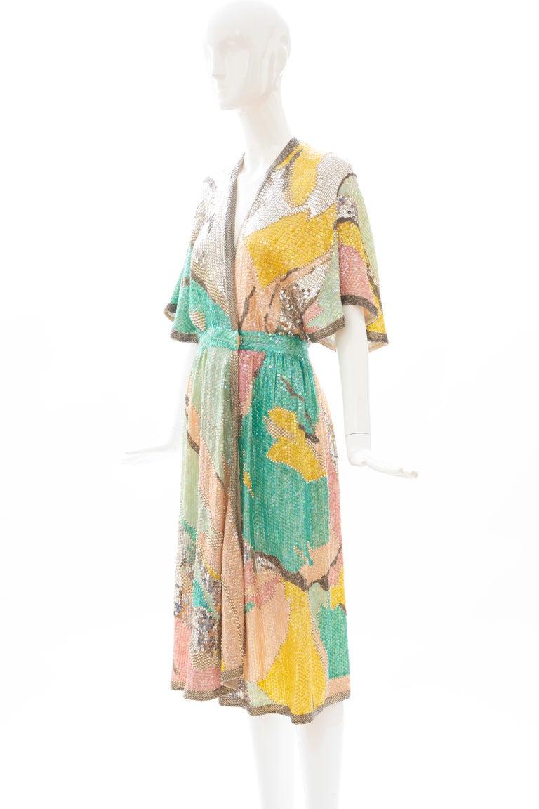 Halston Sequin Seed Pearl Bugle Bead Silk Evening Wrap Dress, Circa: 1970's For Sale 9
