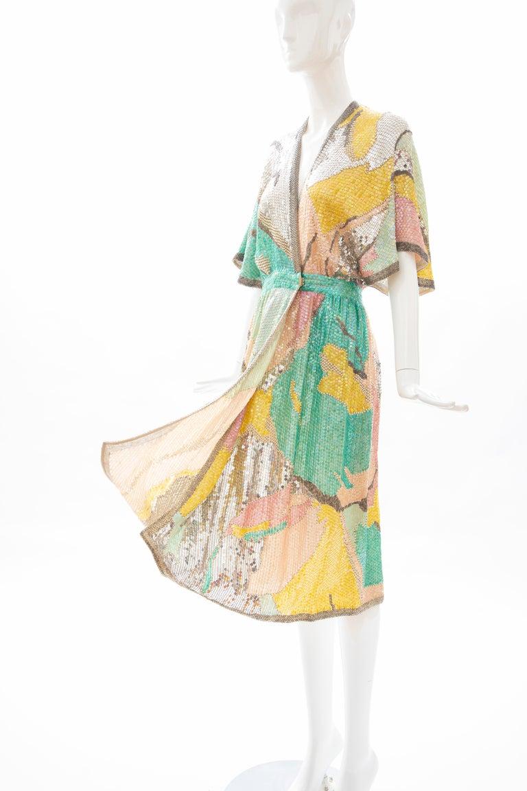 Halston Sequin Seed Pearl Bugle Bead Silk Evening Wrap Dress, Circa: 1970's For Sale 10