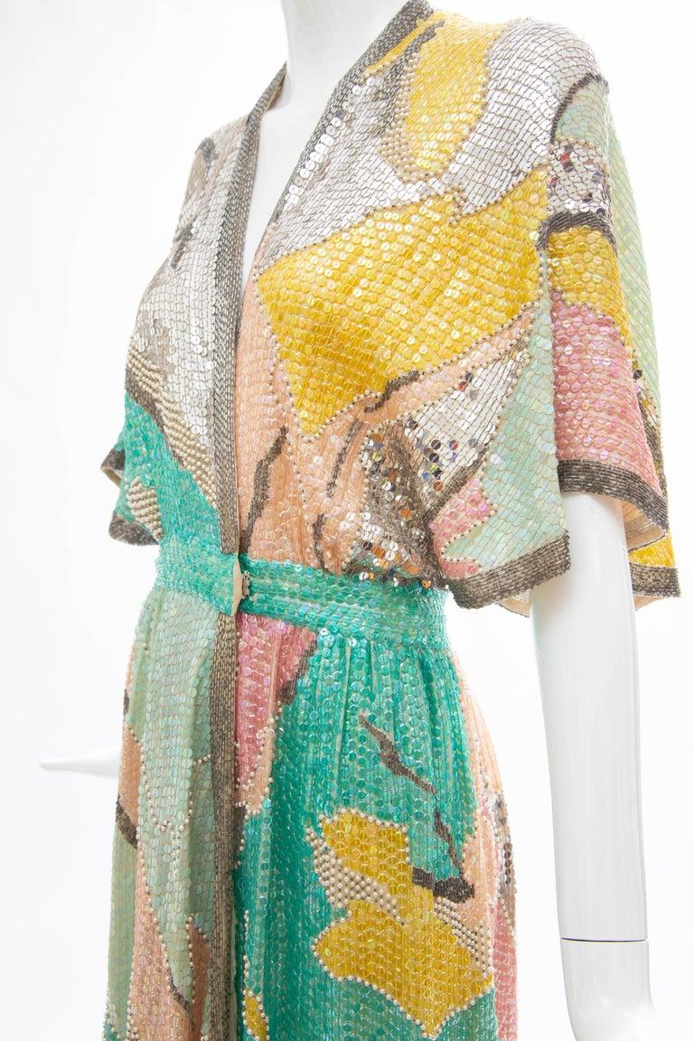 Halston Sequin Seed Pearl Bugle Bead Silk Evening Wrap Dress, Circa: 1970's For Sale 11