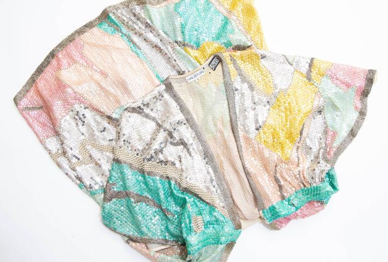 Halston Sequin Seed Pearl Bugle Bead Silk Evening Wrap Dress, Circa: 1970's For Sale 12