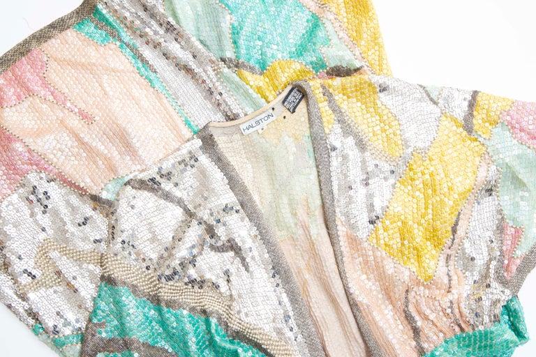 Halston Sequin Seed Pearl Bugle Bead Silk Evening Wrap Dress, Circa: 1970's For Sale 13