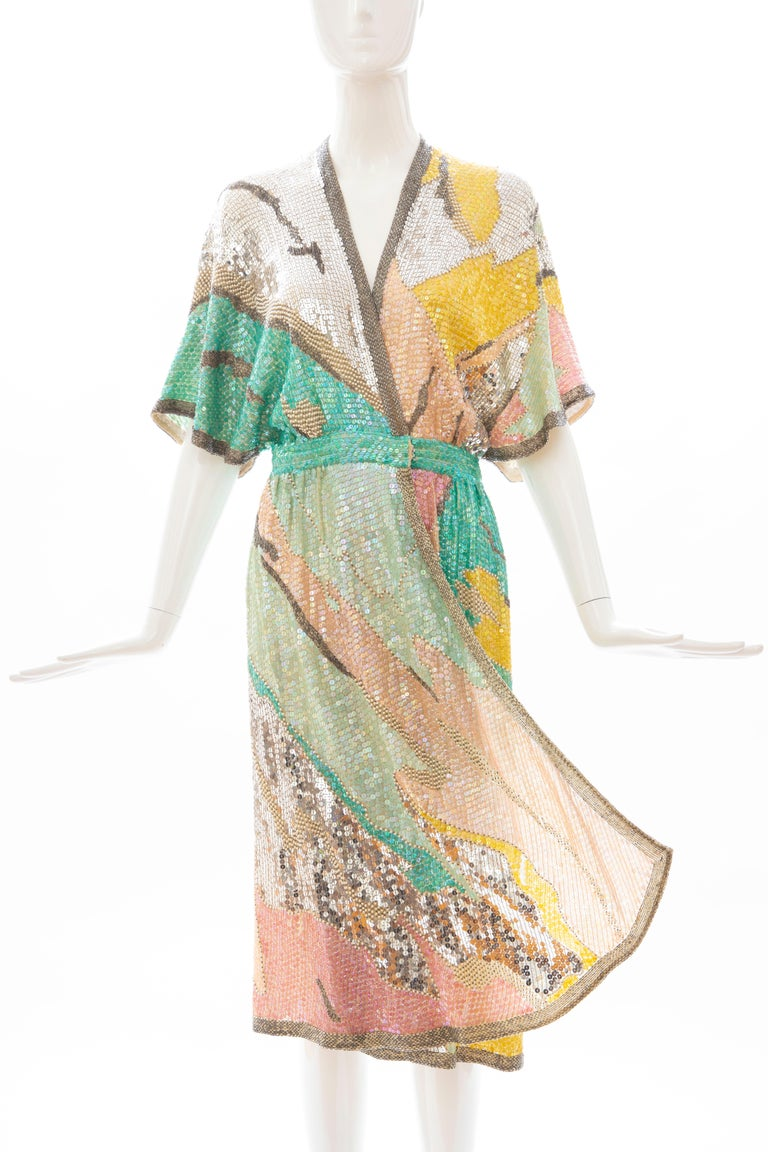Halston Sequin Seed Pearl Bugle Bead Silk Evening Wrap Dress, Circa: 1970's In Excellent Condition For Sale In Cincinnati, OH