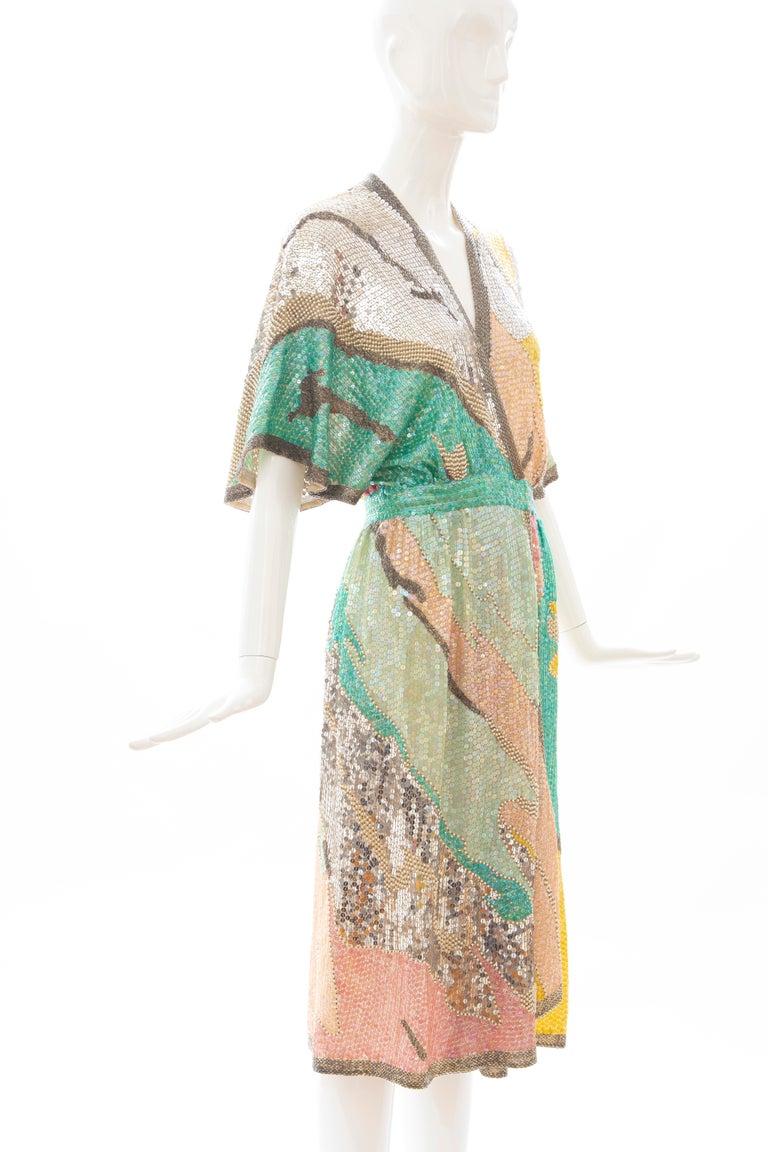 Women's Halston Sequin Seed Pearl Bugle Bead Silk Evening Wrap Dress, Circa: 1970's For Sale