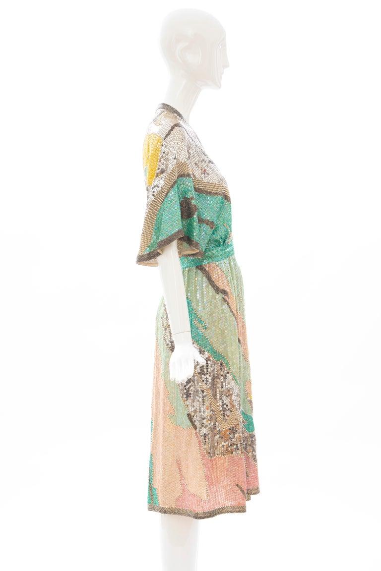 Halston Sequin Seed Pearl Bugle Bead Silk Evening Wrap Dress, Circa: 1970's For Sale 1