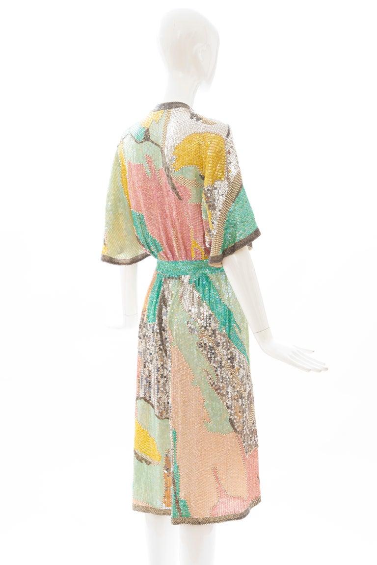 Halston Sequin Seed Pearl Bugle Bead Silk Evening Wrap Dress, Circa: 1970's For Sale 2