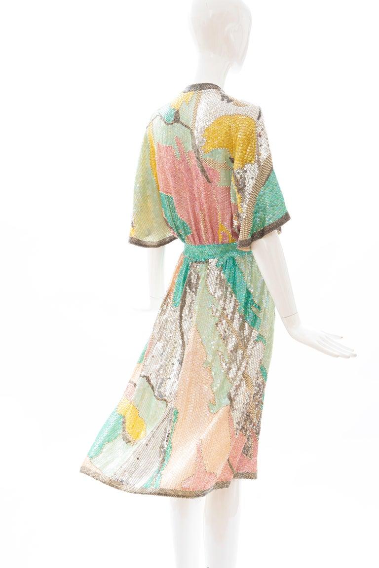 Halston Sequin Seed Pearl Bugle Bead Silk Evening Wrap Dress, Circa: 1970's For Sale 3