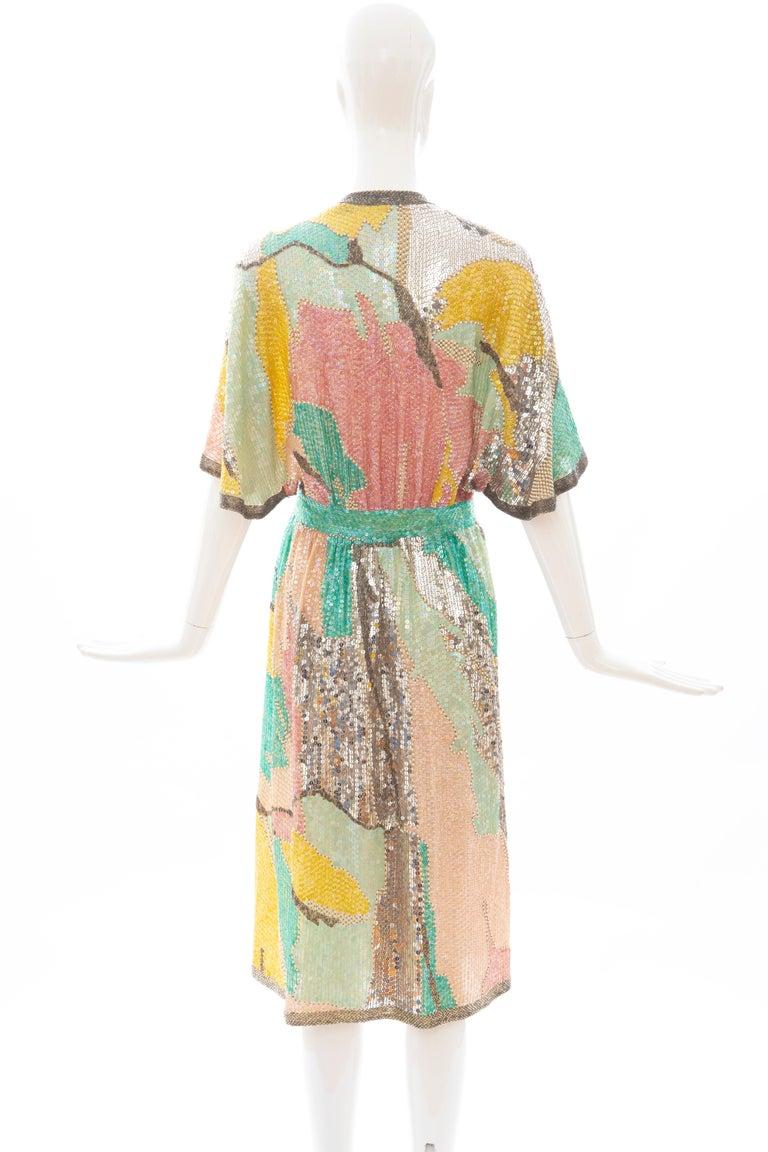 Halston Sequin Seed Pearl Bugle Bead Silk Evening Wrap Dress, Circa: 1970's For Sale 4