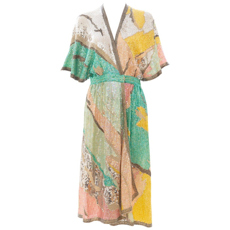 Halston Sequin Seed Pearl Bugle Bead Silk Evening Wrap Dress, Circa: 1970's For Sale