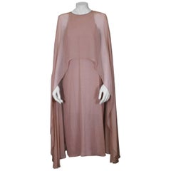 Halston Silk Chiffon Cape Dress