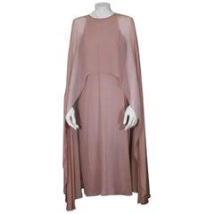 Halston Silk Chiffon Cape Dress