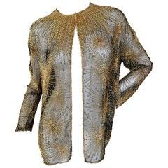 Halston Vintage Seventies Sheer Fireworks Evening Jacket in Golden Bugle Beads