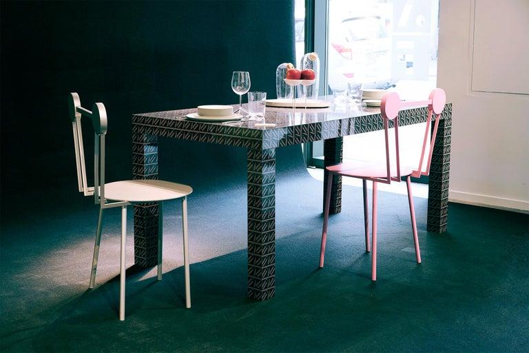 Italian Chapel Petrassi Contemporary Chair Black Haly Aluminium  For Sale