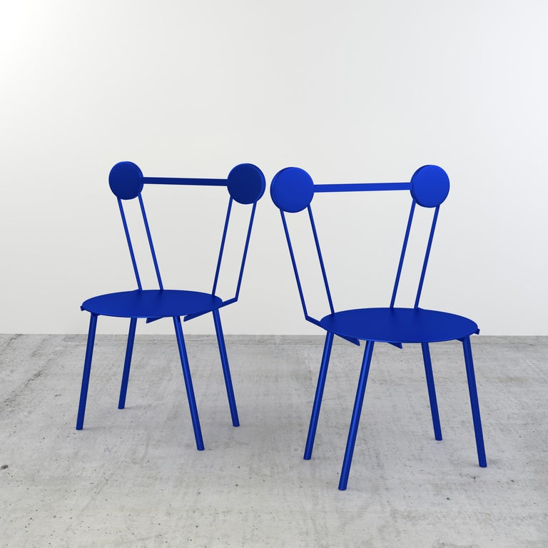 Other Chapel Petrassi Contemporary Chair Blue Haly Aluminium  For Sale
