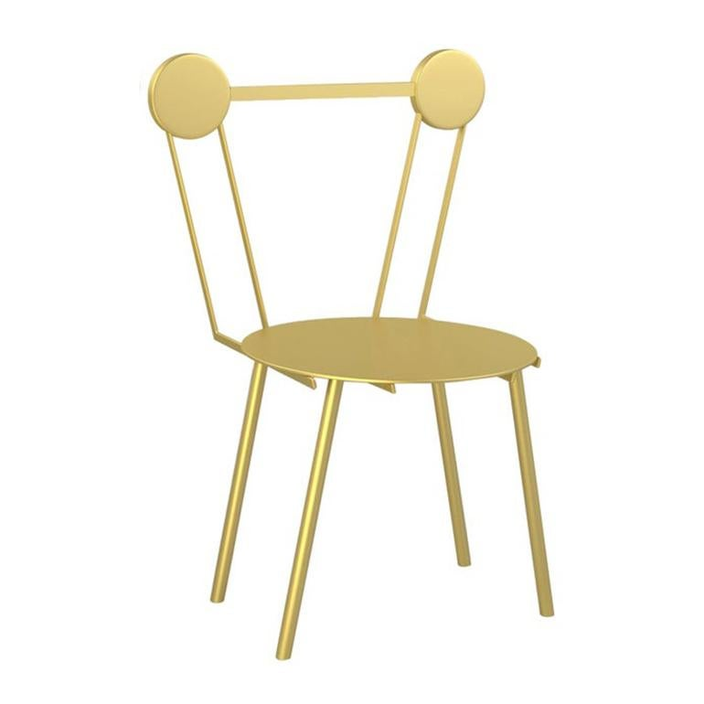 Contemporary Chair Gold Haly Aluminium by Chapel Petrassi