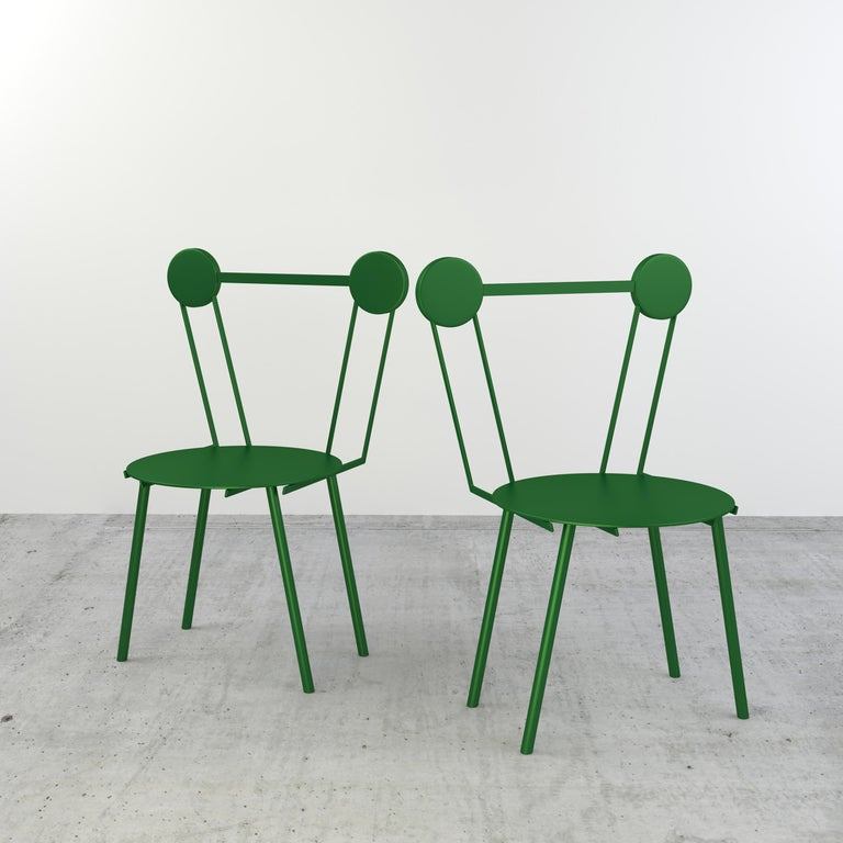 Other Chapel Petrassi Contemporary Chair Green Haly Aluminium  For Sale