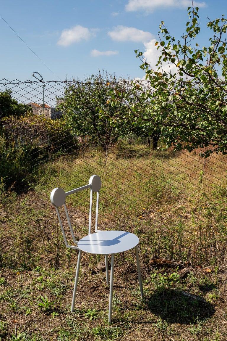 Aluminum Chapel Petrassi Contemporary Chair Rose Haly Aluminium  For Sale