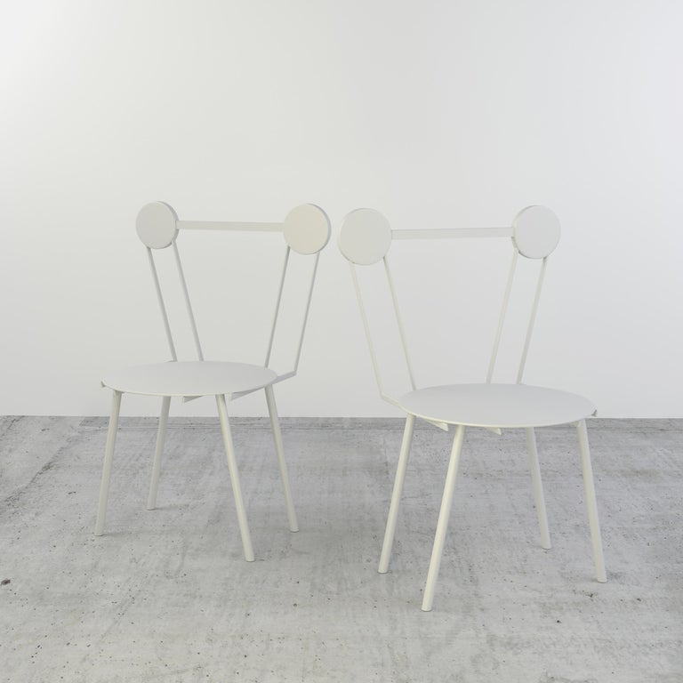 Italian Contemporary Chair White Haly Aluminium by Chapel Petrassi For Sale