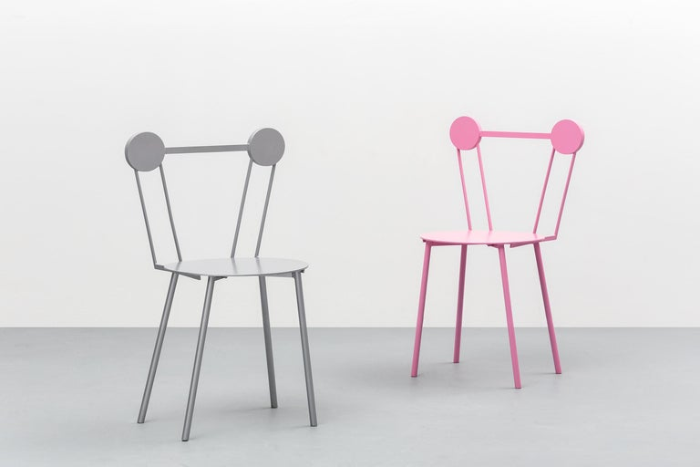 Lacquered Contemporary Chair White Haly Aluminium by Chapel Petrassi For Sale