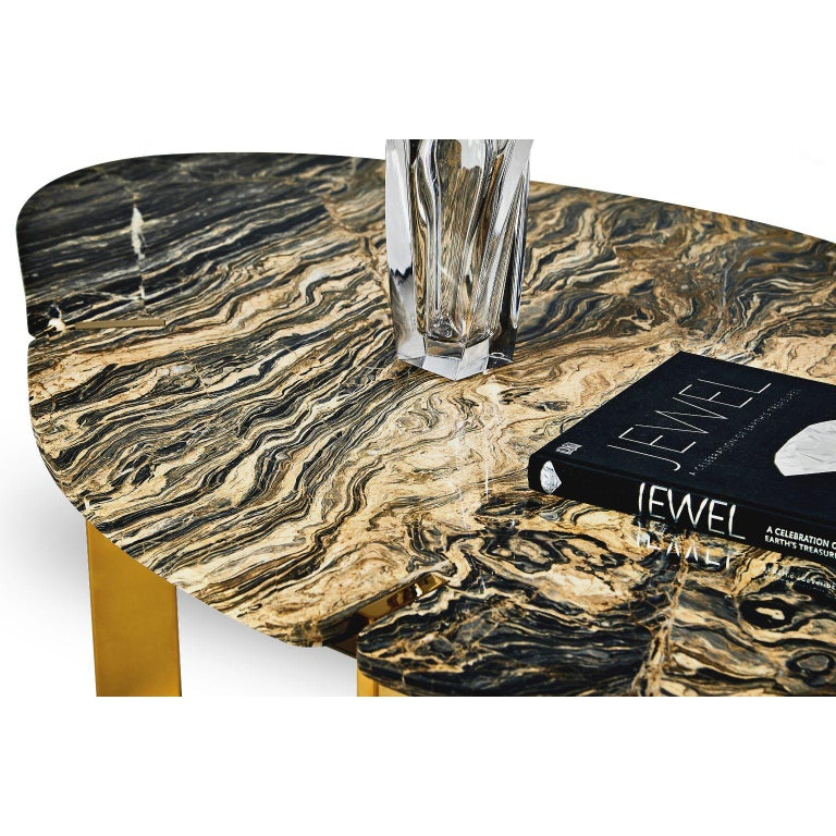 Modern Halys Coffee Table Gold by Marble Balloon For Sale