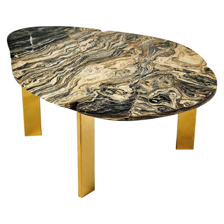 Halys Coffee Table Gold by Marble Balloon For Sale