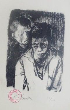 """Street Boy II"" signed Lithograph 9"" x 6"" inch Edition 62/100 by Hamed Abdalla"