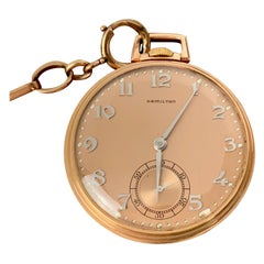 Hamilton 14 Karat Rose Gold Slim Pocket Watch and Chain