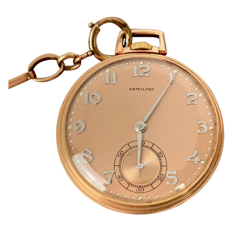 Slim Pocket Watch and Chain- 14 Karat Rose Gold by The Hamilton Watch Company For Sale