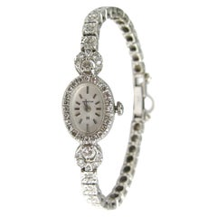 Hamilton 14 Karat White Gold Diamond Dress Watch 17 Jewels, 1950s