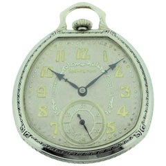 Hamilton 14 Karat White Gold Filled Pocket Watch