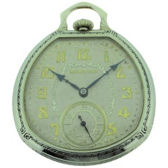 Hamilton 14 Karat White Gold Filled Pocket Watch
